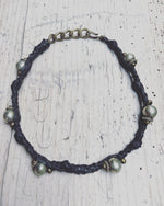 Republic of You - The Wanderer - Tribal black leather wrap bracelet or choker necklace with silver beads