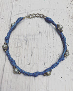 Republic of You - The Wanderer - Tribal blue leather wrap bracelet or choker necklace with silver beads