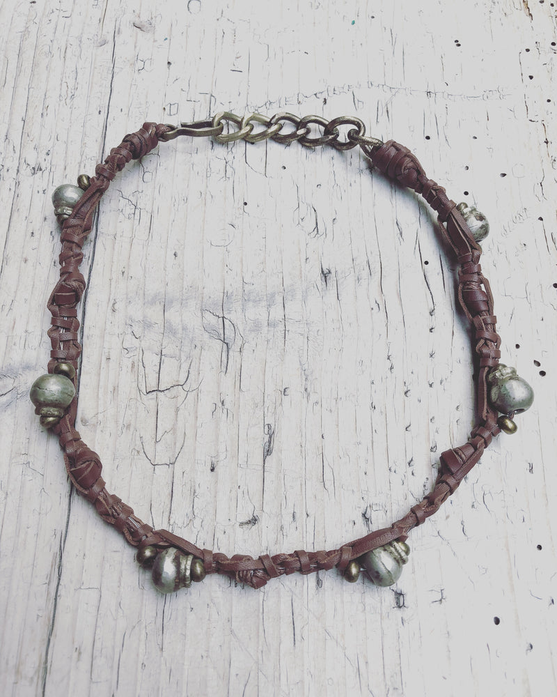 Republic of You - The Wanderer - Tribal brown leather wrap bracelet or choker necklace with silver beads