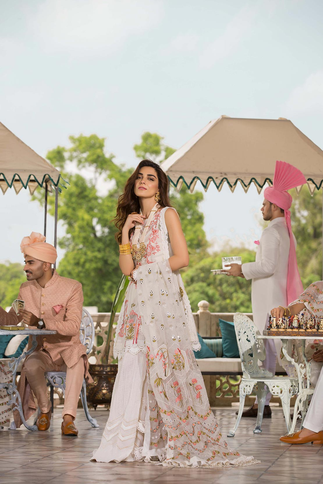 Artisans of the Subcontinent Ivory  - [Crimson by Saira Shakira Luxury Lawn'19]