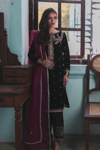 Black & Pink QWV05 (Qalamkar Luxury Velvet Collection)