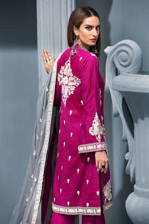 Dark Pink 3Pc APE-08 [GulAhmed Poshak-e-Chinar Embroidered Shawl Collection]