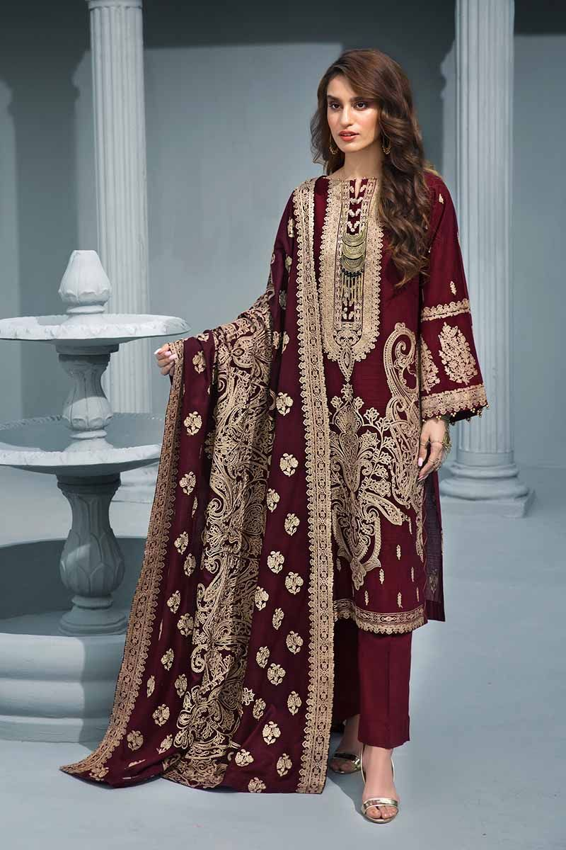 Maroon 3Pc AYE-01 [GulAhmed Poshak-e-Chinar Embroidered Shawl Collection]