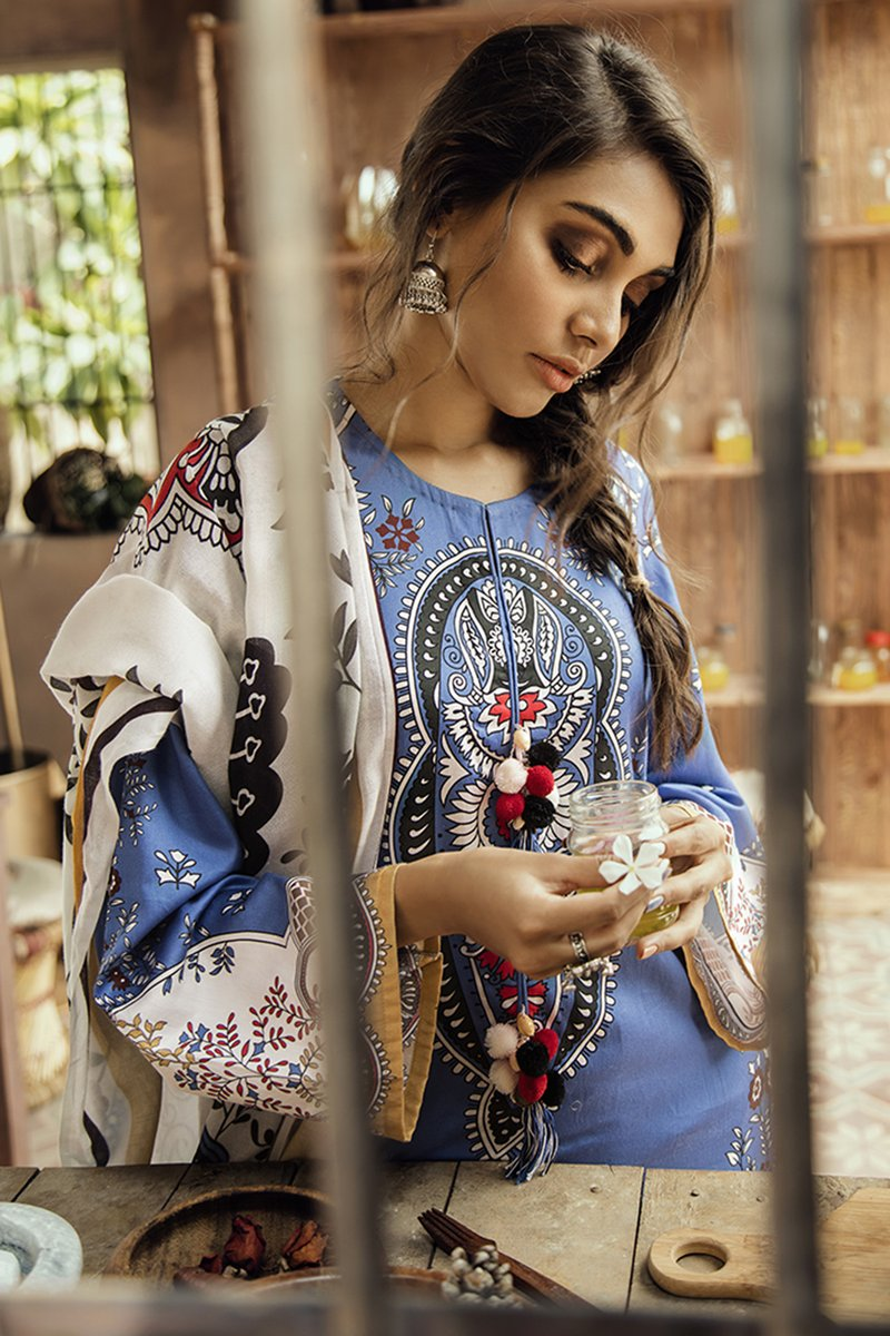 BLUE DIVA (CROSS STITCH - AANGAN COTTON SATIN'19)