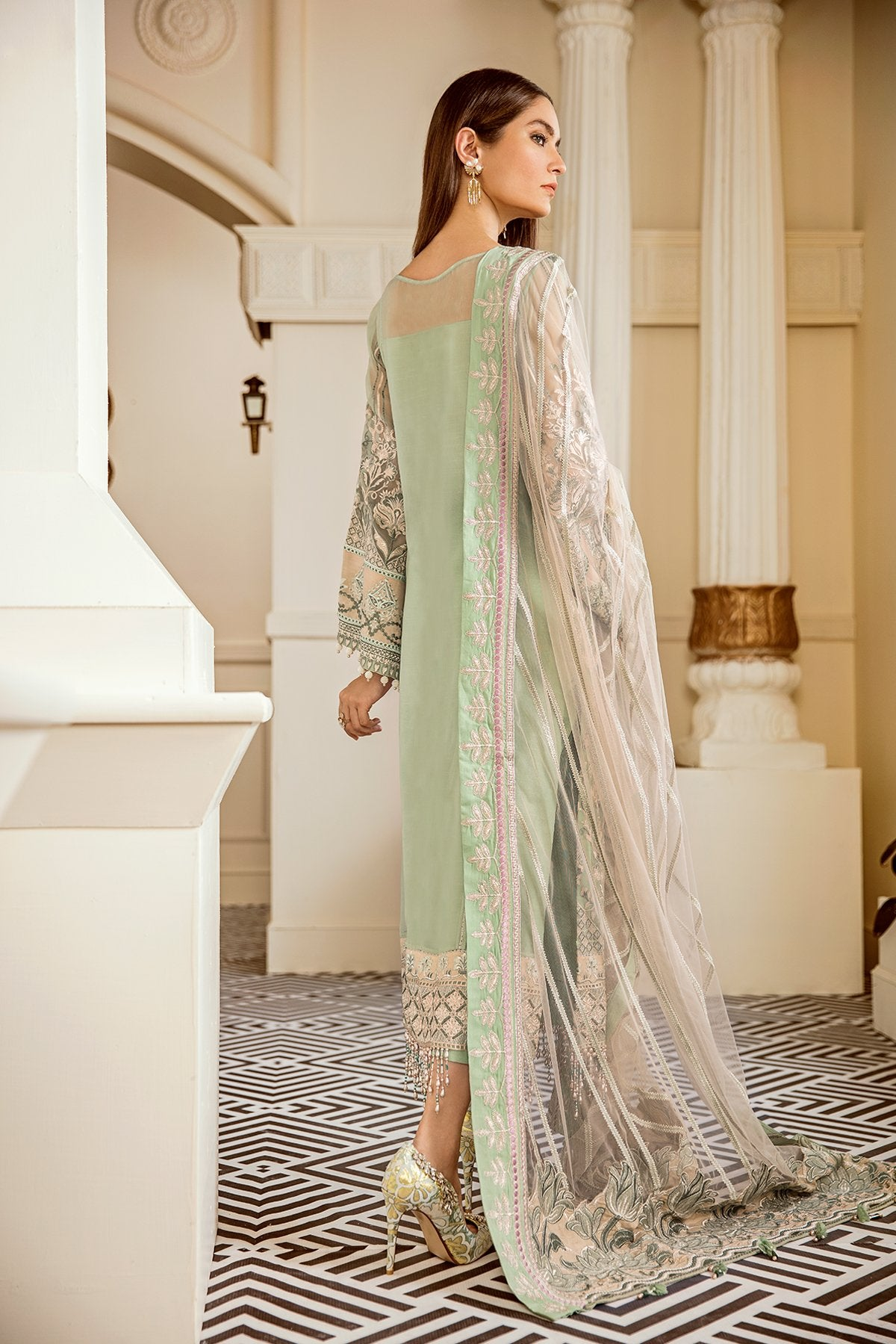 Mint Tea (Baroque Chantelle Embroidered Chiffon)