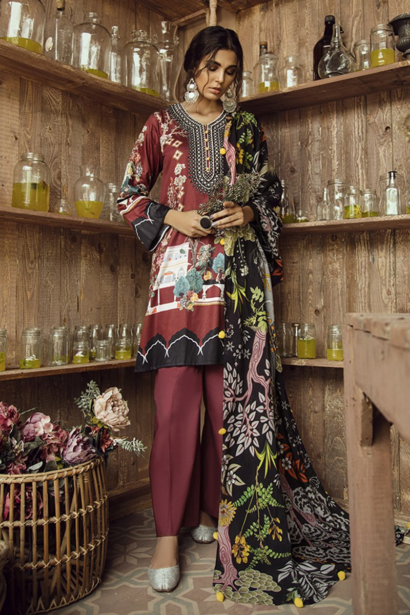 SCARLET RUBY (CROSS STITCH - AANGAN COTTON SATIN'19)