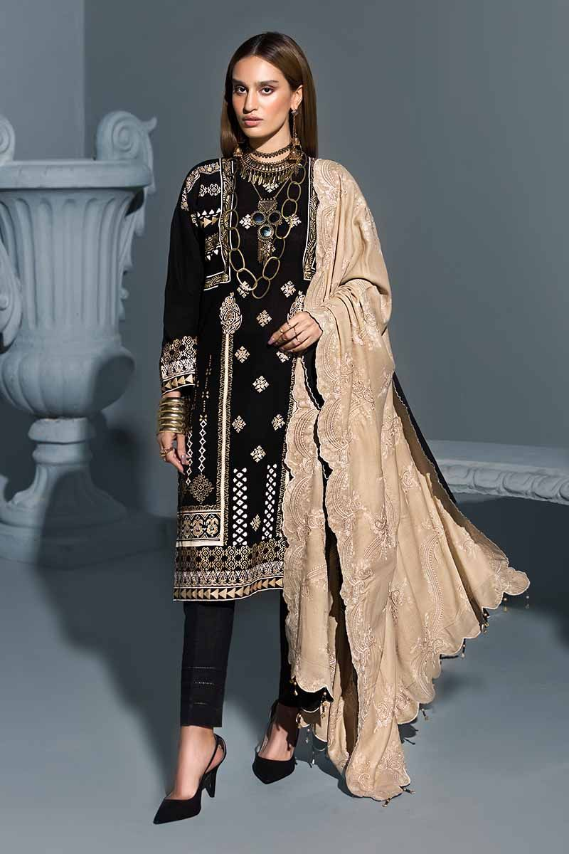 Black 3Pc APE-09 [GulAhmed Poshak-e-Chinar Embroidered Shawl Collection]