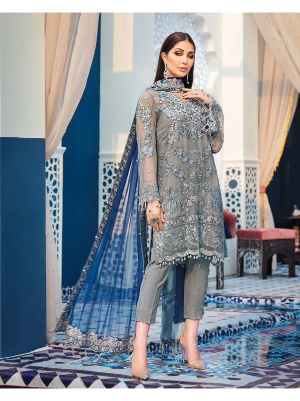 Tangier D-4 (3-Piece Embroidered Chiffon Suit) | Gulaal | Adila Unstitched Luxury Formals