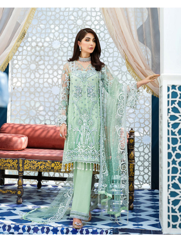 Anisah D-5 (3-Piece Embroidered Net Suit) | Gulaal | Adila Unstitched Luxury Formals