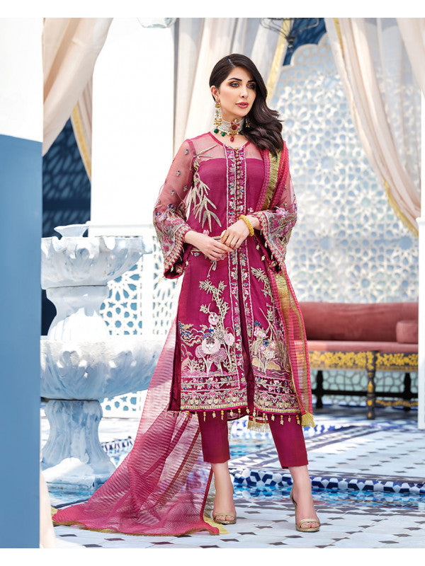 Ameur D-6 (3-Piece Embroidered Net Suit) | Gulaal | Adila Unstitched Luxury Formals
