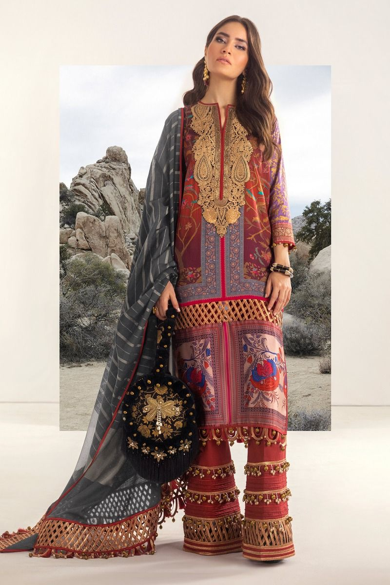 B201-005A-CU | Sana Safinaz | Karnool Block Print Collection'20