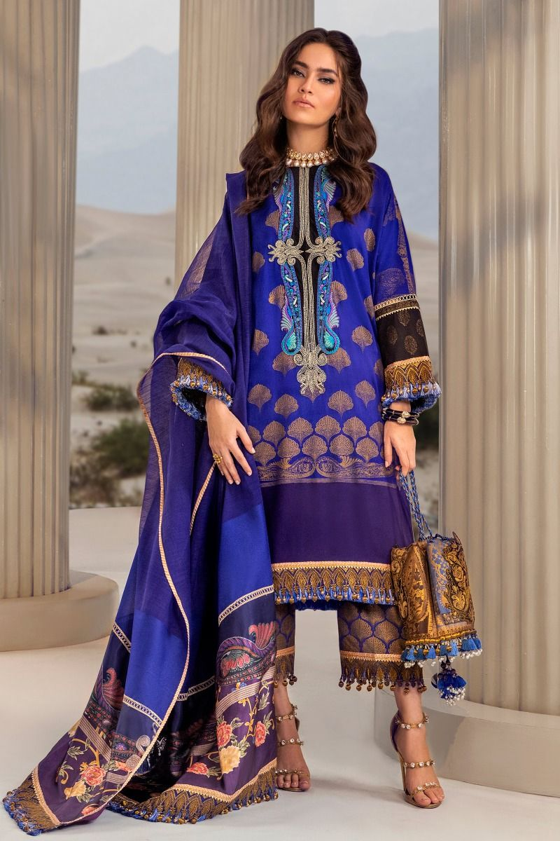B201-007B-CU | Sana Safinaz | Karnool Block Print Collection'20