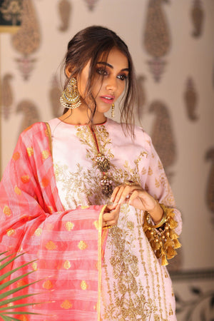 3 Piece Embroidered Suit with Jacquard Dupatta [Alkaram Festive Vol. 2]