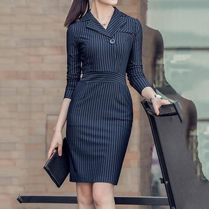 Fold-Over Collar  Vertical Striped Bodycon Dress