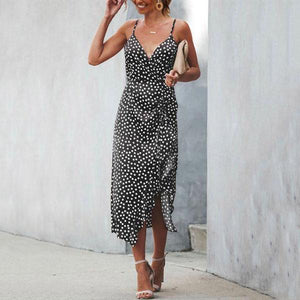 Spaghetti Strap Asymmetric Hem Dot Sleeveless Vacation Dresses