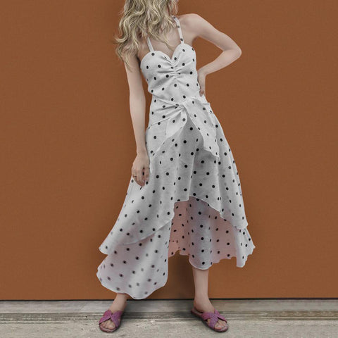 V-Neck Halter Wave Point Sexy Playful Dress