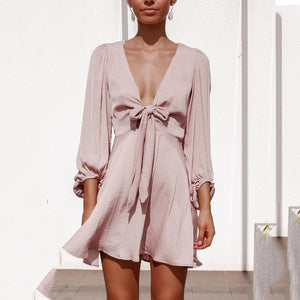 V-Neck Fairy Knot Lantern Sleeve Dress