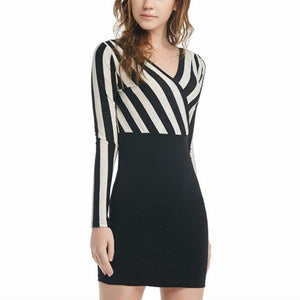Sexy Deep V-Neck Vertical Stripe Work Dress