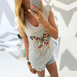 Round Neck Glitter Butterfly Printed T-Shirts
