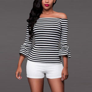 Sexy Striped Off Shoulder Horn Sleeve Shirt
