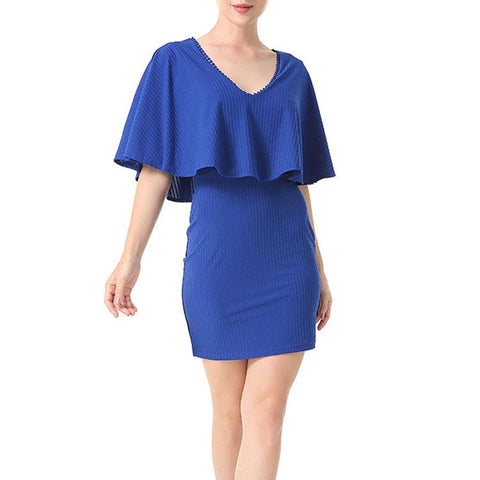 Elegant V-Neck Pure Color Work Dress