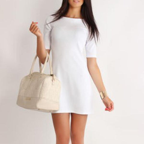 Elegant Pure Color Short Sleeve Work Dress