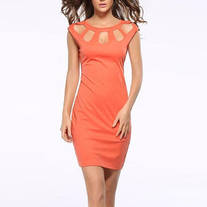 Elegant Round Collar Sleeveless Hollow Work Dress