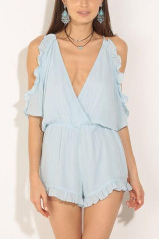 Casual Light Blue Off Shoulder Romper