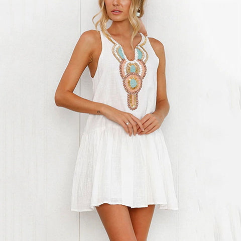 Casual Sleeveless Floral Print Mini Dress