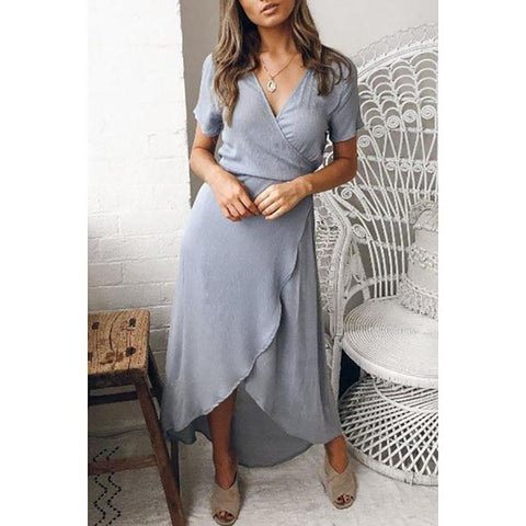 Surplice  Asymmetric Hem  Plain  Short Sleeve Maxi Work Dresses
