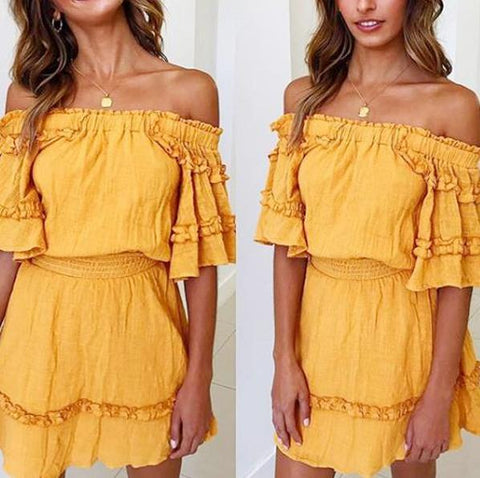 Sexy Yellow Off Shoulder Short Sleeves Mini Dress