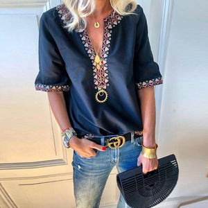 Arealook Bohemian Printed V Neck Short Sleeve Blouses