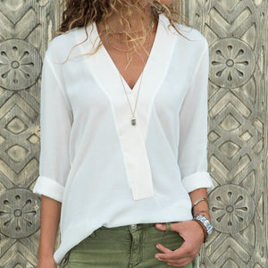 Fashion V Neck Chiffon Pure Colour Long Sleeve Shirt