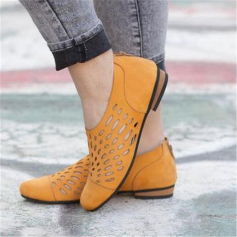 Elegant Flat Bottom Zipper Casual Shoes