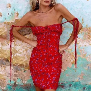 Tube Top Red Print Tight Super Long Strap  Dress