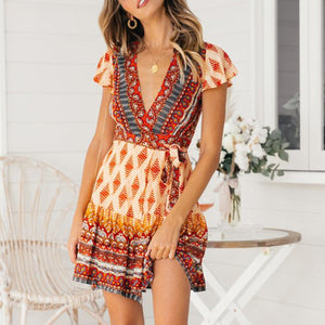 Summer Short Sleeve V Neck Floral Ruffle A-Line Mini Dress