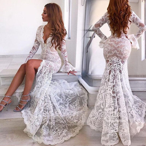 Sexy Deep V Lace Split Fishtail Dress