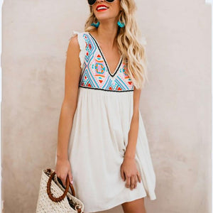 Casual Printed Colour Sleeveless Mini Dresses