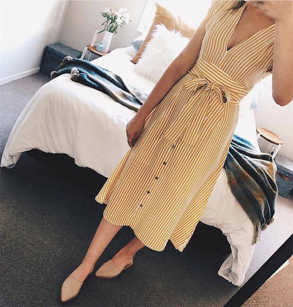 Casual Sexy Deep V Neck Slim Strips Dresses