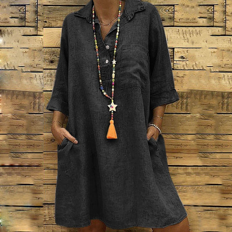 Arealook Fashion Lapel Plain Loose Vacation Dress