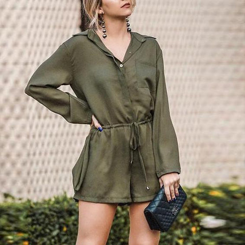 Loose Slim Chiffon Shirt Jumpsuit
