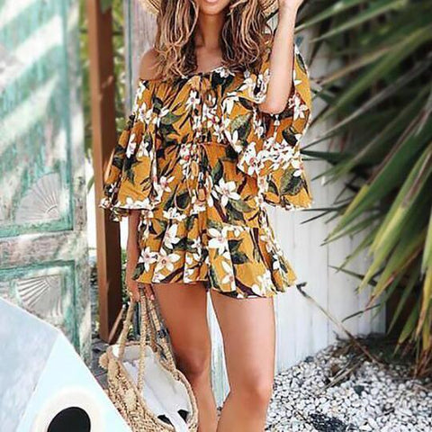 Printed Elastic Waist Strap Off   The Shoulder Collar Mini Dress