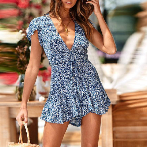 V-Neck Floral Waist Tie Casual Short Jumpsuit