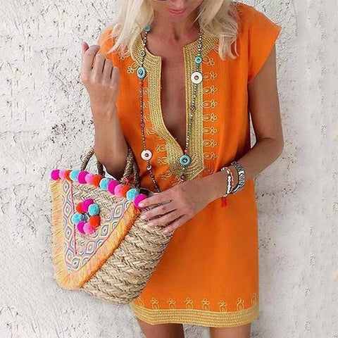 Bohemian Deep V Short Sleeve Casual Dresses