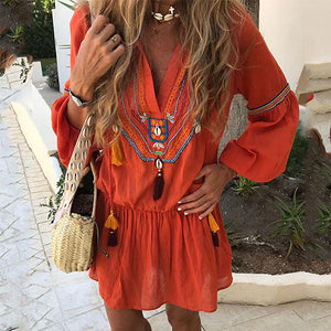 Bohemian V Neck Puff Sleeve Halflong Sleeve Casual Dresses