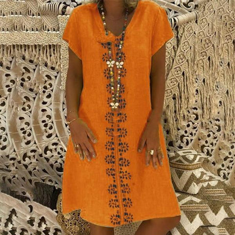 Fashion Shirt Printed Loose Cotton Casual Dress