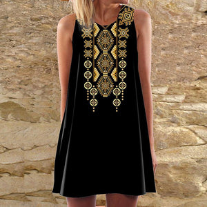 Vintage Round Neck Sleeveless Printed Colour Dress