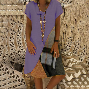 Fashion Casual Stitching Printed   Short-Sleeved V-Neck Dress