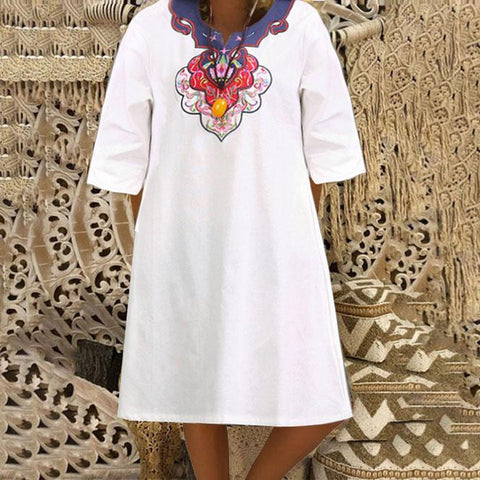 Vintage Embroidered Loose Dress