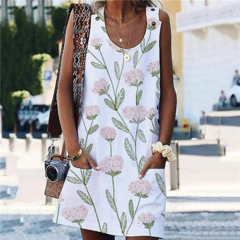 Fashion Printed Button Pocket Mini Dresses